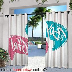 BlountDecor Gender Reveal Patio Curtains W84 x L84 Hand Draw