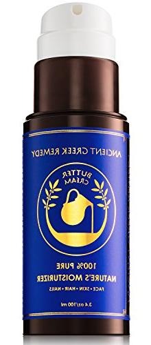 Organic Butter Cream of Almond, Castor, olive Grapeseed with E, Daily Moisturizer dry Hair, Cuticle, Beard, natural balm for Men and