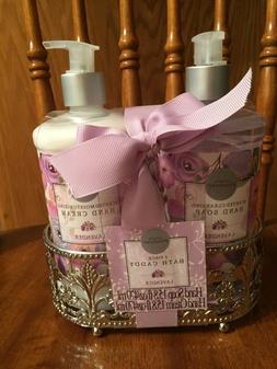 Lavender Hand Soap / Hand Cream Gift Set With Bath Caddy