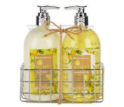 Simple Pleasures Fancy Caddy Hand Soap and Hand Cream in Lem